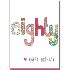 80th Birthday Card - Patchwork (For Her)