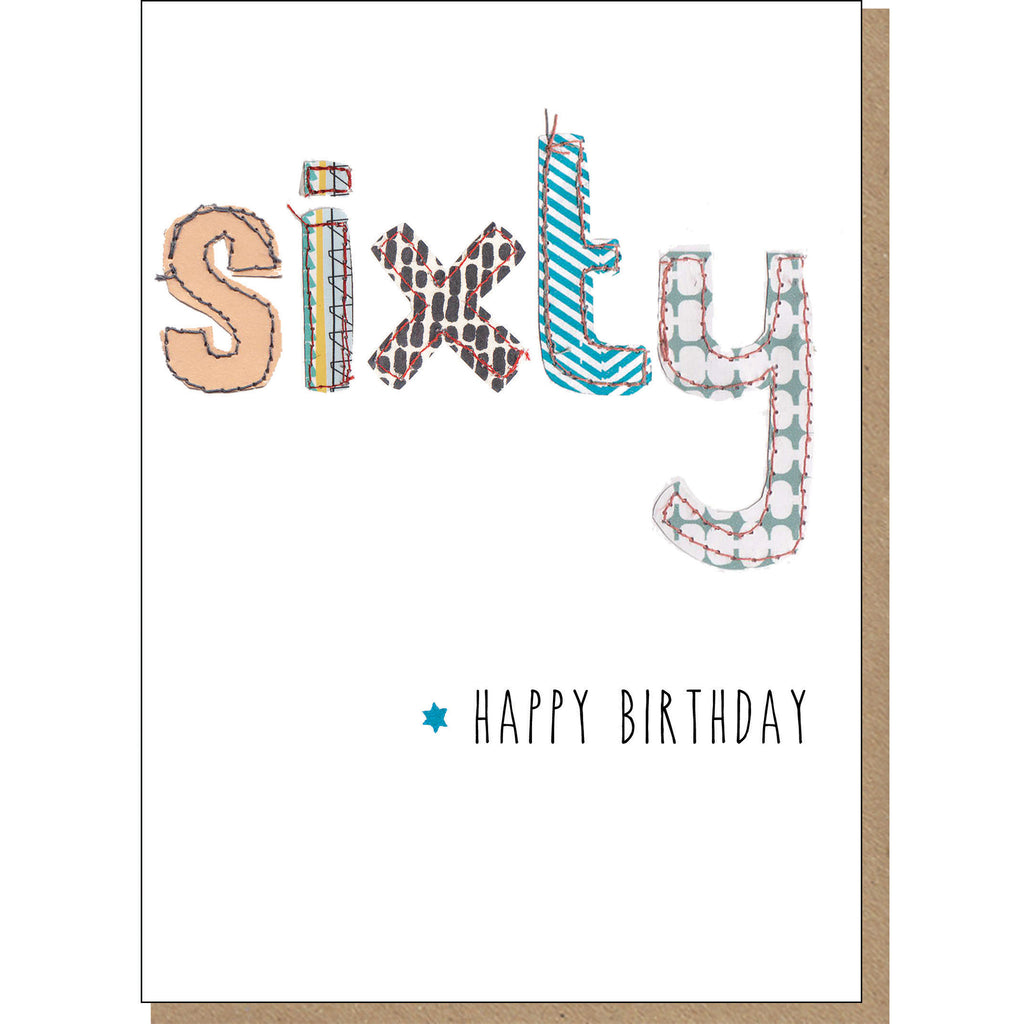 60th Birthday Card - Patchwork (For Him)