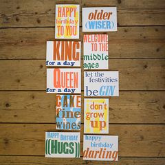 Older (Wiser) Letterpress Birthday Card