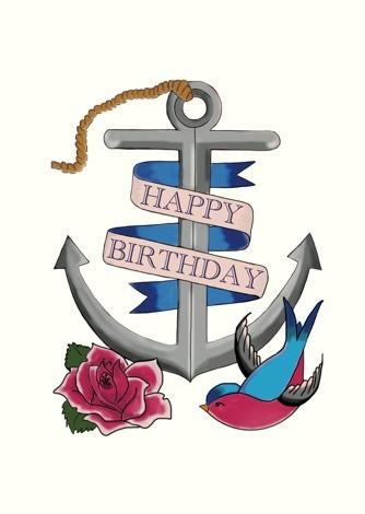 Happy Birthday Anchor Tattoo Card Paper Tiger