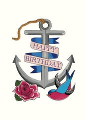 Happy Birthday Anchor Tattoo Card