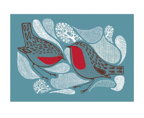 Winter Robins Blank Card