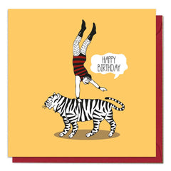 Tiger and Strongman Birthday Card