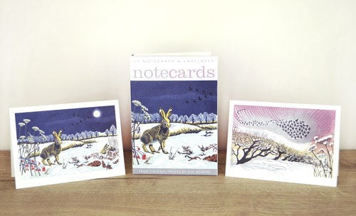 Winter Hares and Starlings Pack of 10 Notecards