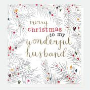 Wonderful Husband Christmas Fir Card