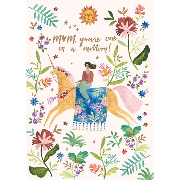 One in a Million Unicorn Mother's Day Card