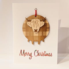 Highland Cow Light Tartan Bauble Christmas Card