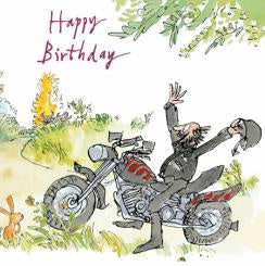 Happy Birthday Motocyclist Quentin Blake Card