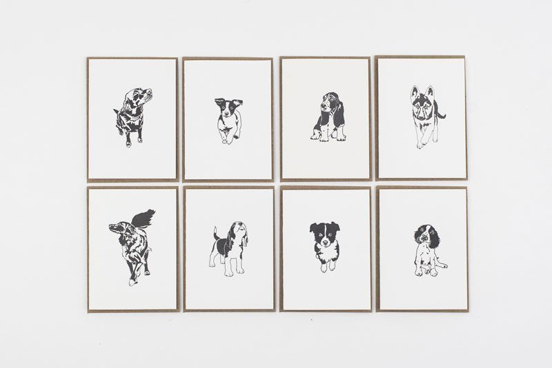 Pack of 8 Letterpress Country Puppy Cards