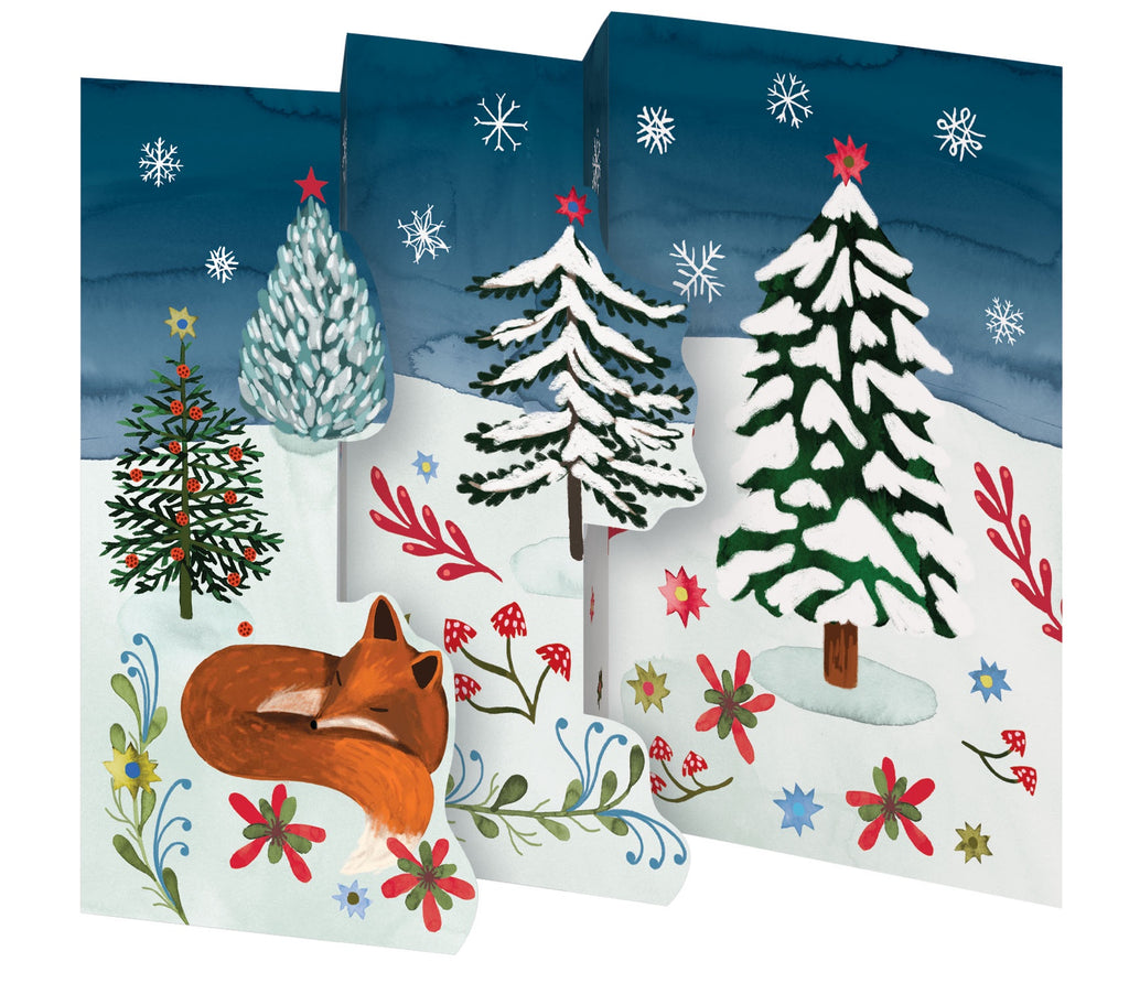 Sleepy Fox Tri Fold Christmas Card Box