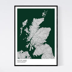 Scotland Grey, Green and Black Map Print in Tube 50x70cm