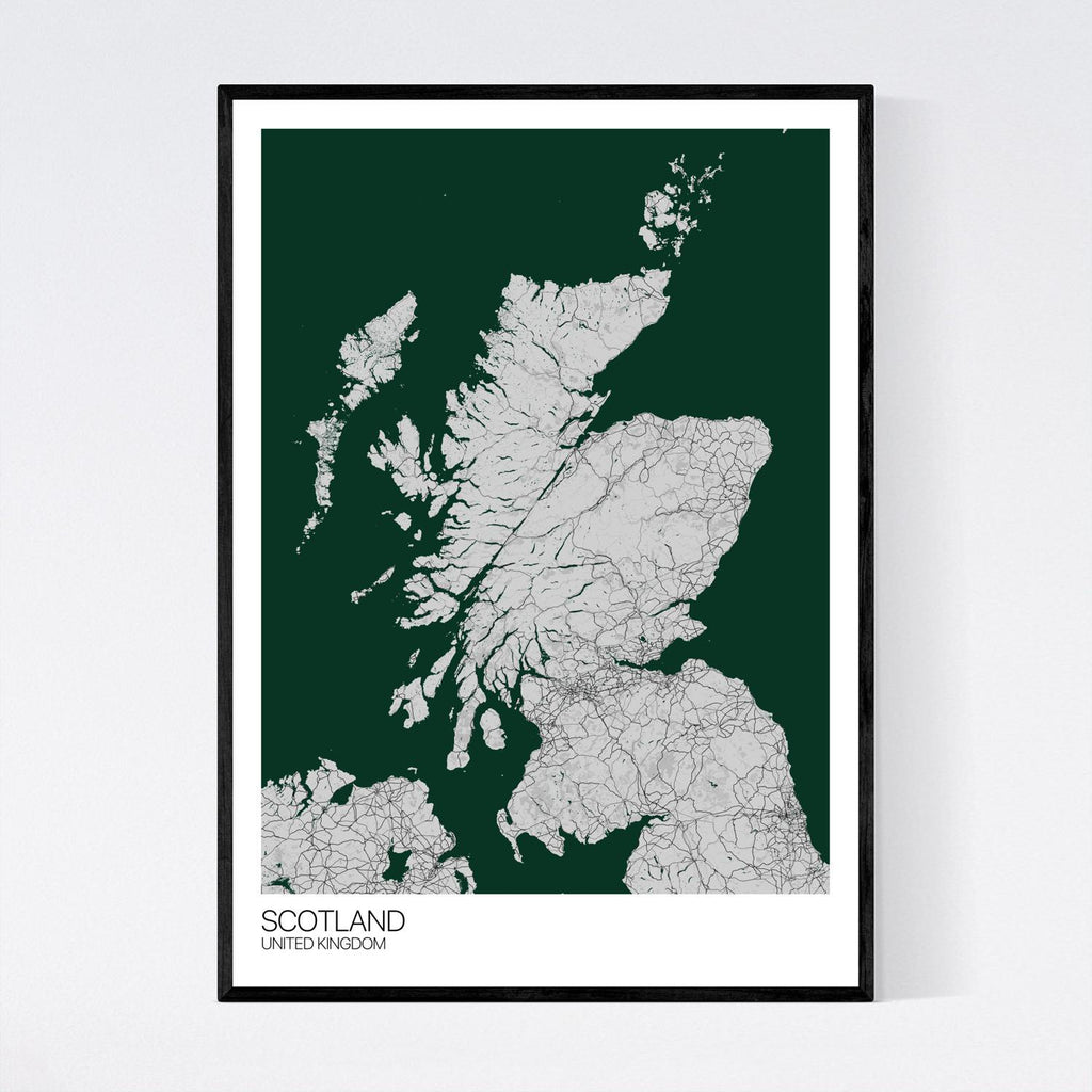 Scotland A3 Grey, Green and Black Map Print in Tube