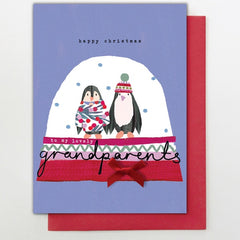 Grandparents Penguin Snowglobe Card