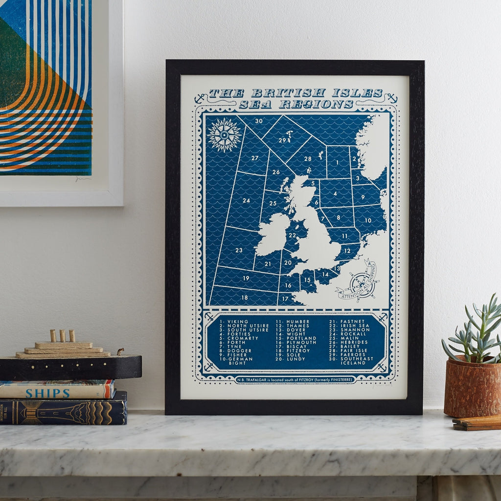 The British Isles Sea Regions A3 Print
