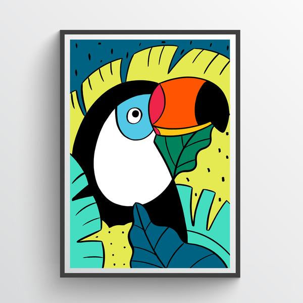 Toucan And Leaves Print