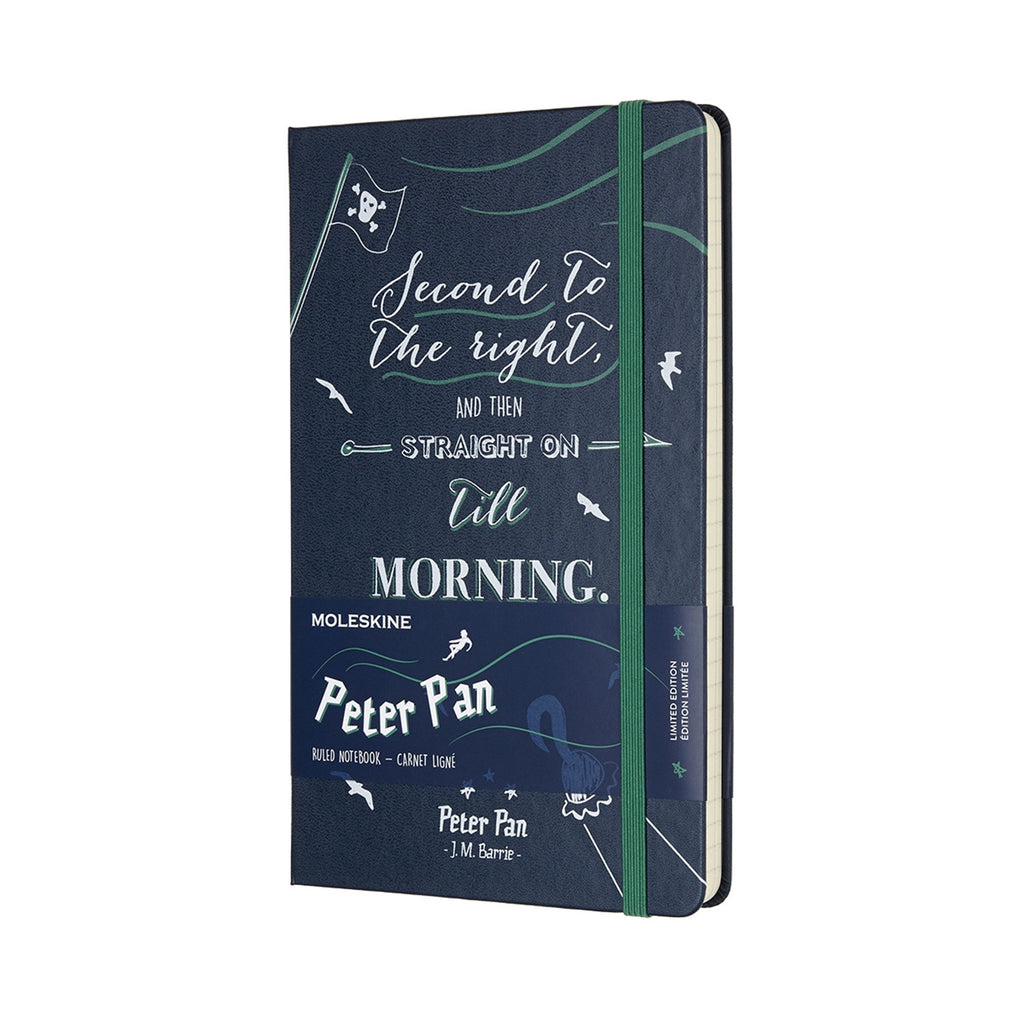 Limited Edition Peter Pan Large Ruled Moleskine Notebook Sapphire Blue