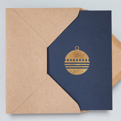 Bauble Navy & Rose Gold Christmas Card