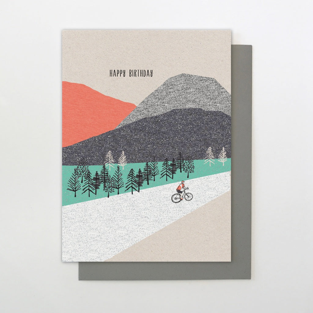 mountain biking birthday card paper tiger