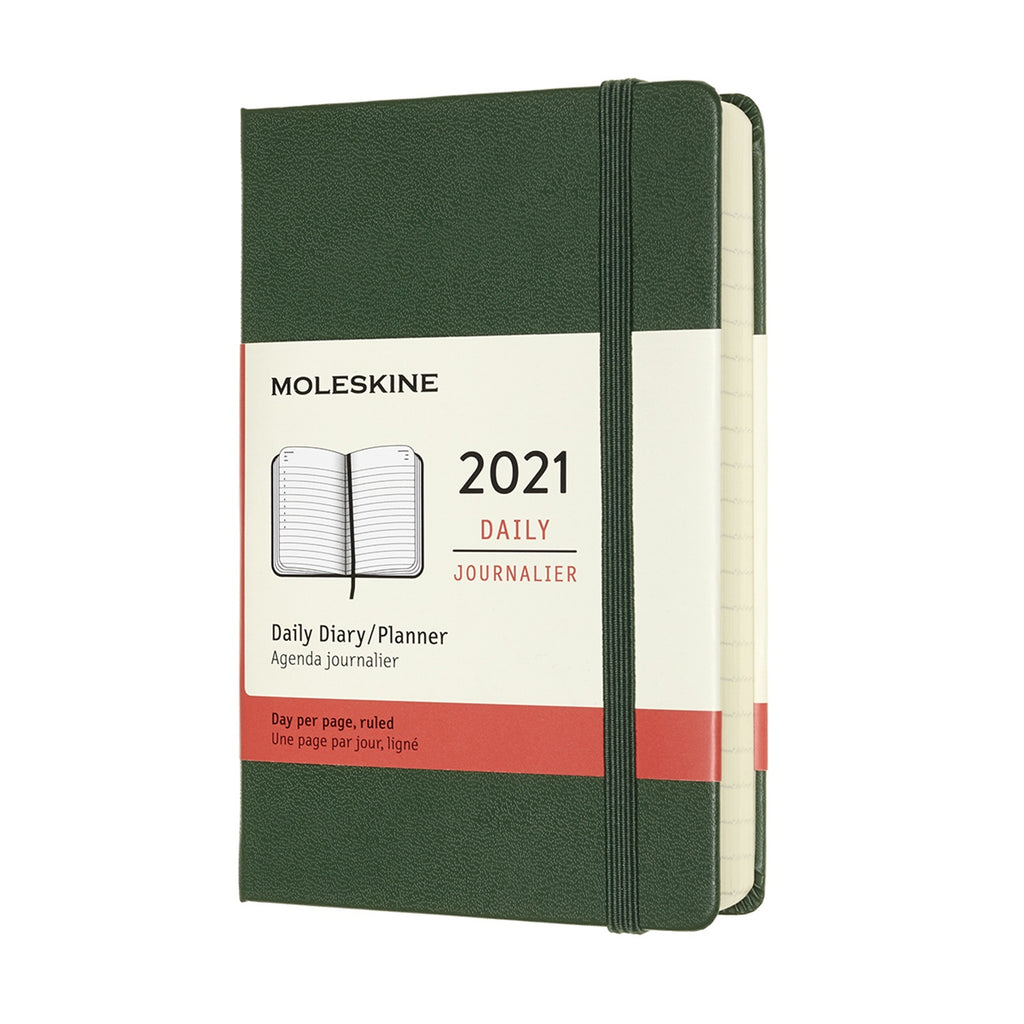 Moleskine 2021 Pocket Daily Planner Hardcover Myrtle Green