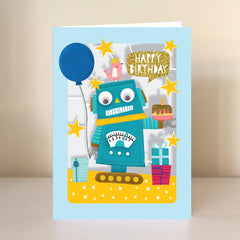 Happy Birthday Robot With a Cake Lasercut Card