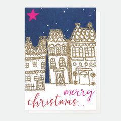 Merry Christmas Houses at Night Pack of 5 Cards