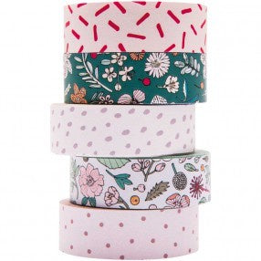 Hygge Flowers Set of 5 Washi Tapes