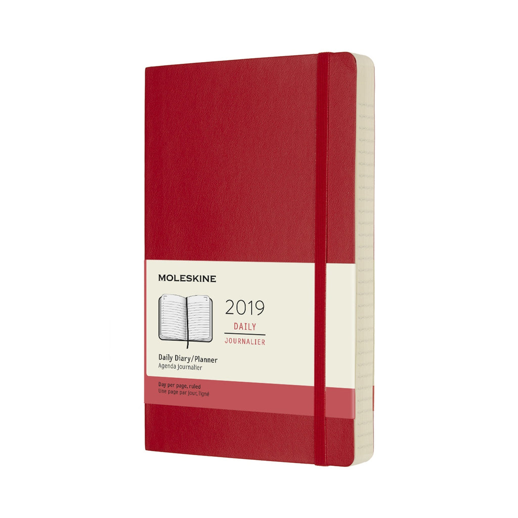 2019 Moleskine Large Daily Planner Softcover Scarlet Red