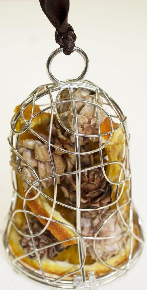 Dried Fruit Hanging Bell Decoration - silver