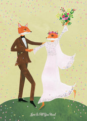Love Is All You Need Fox Wedding Card