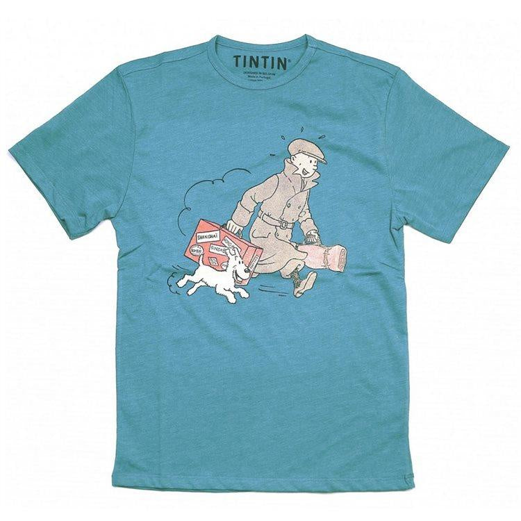 Tintin and Snowy with Luggage Kids T-Shirt Blue