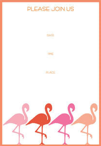 Pack of 8 Flamingo Party Invitations