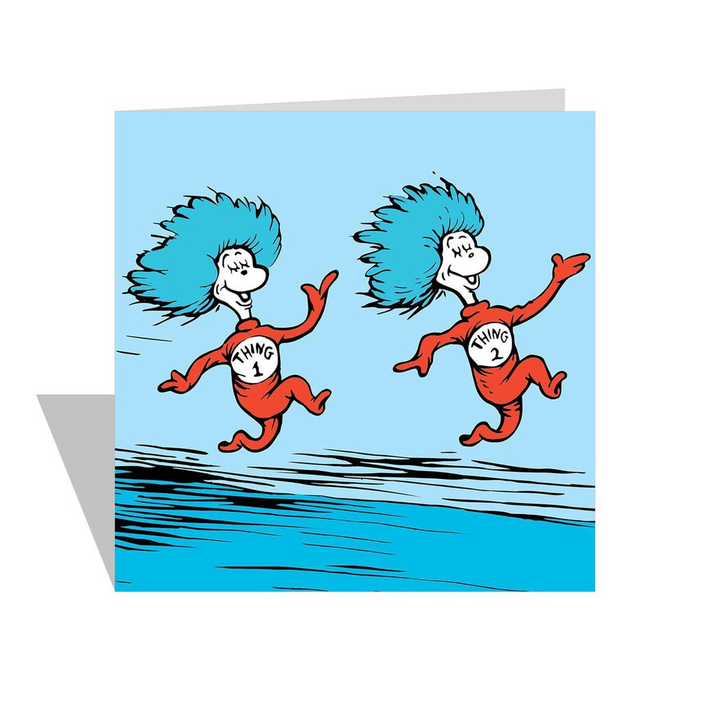 Thing 1 and Thing 2 Cat in the Hat Square Card