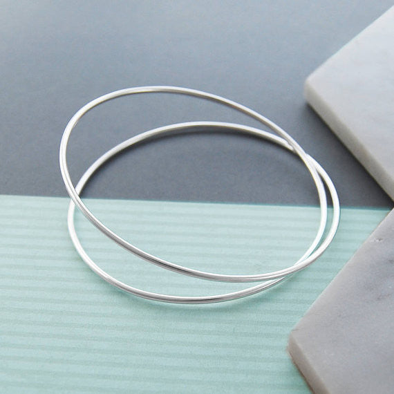 Spring Contemporary Silver Bangle