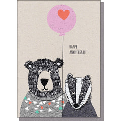 Anniversary Card - Bear and Badger