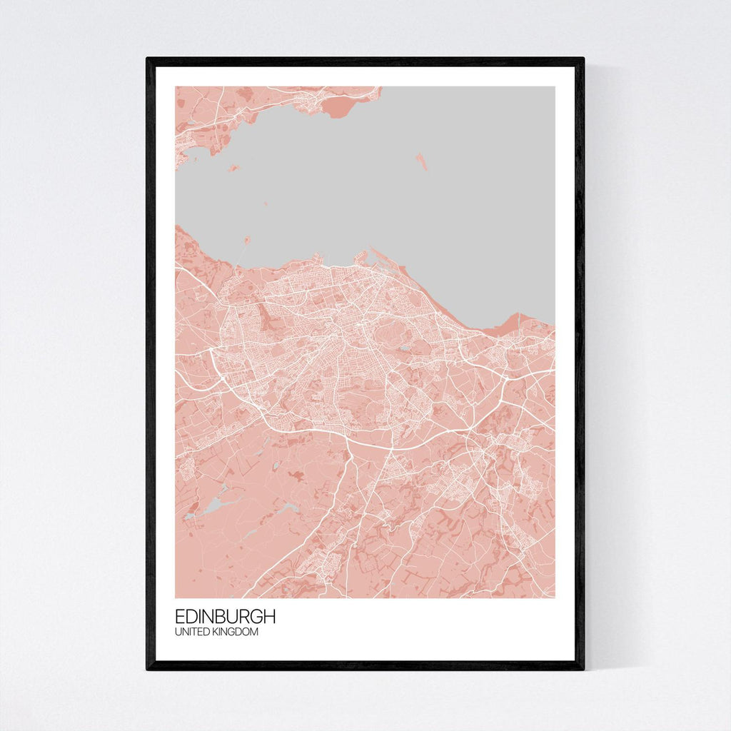 Edinburgh A3 Light Red, Grey and White Map Print in Tube