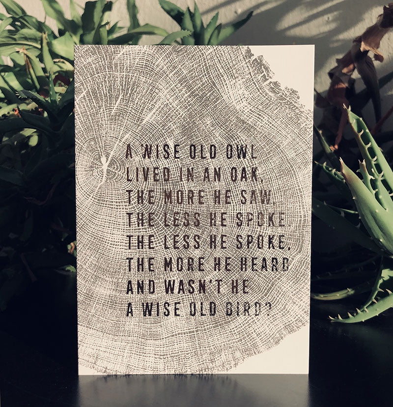 Wise Owl Oak Card