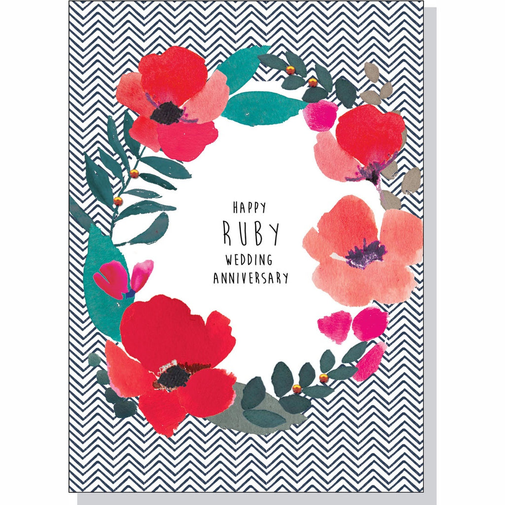 Anniversary Card - Ruby Wedding