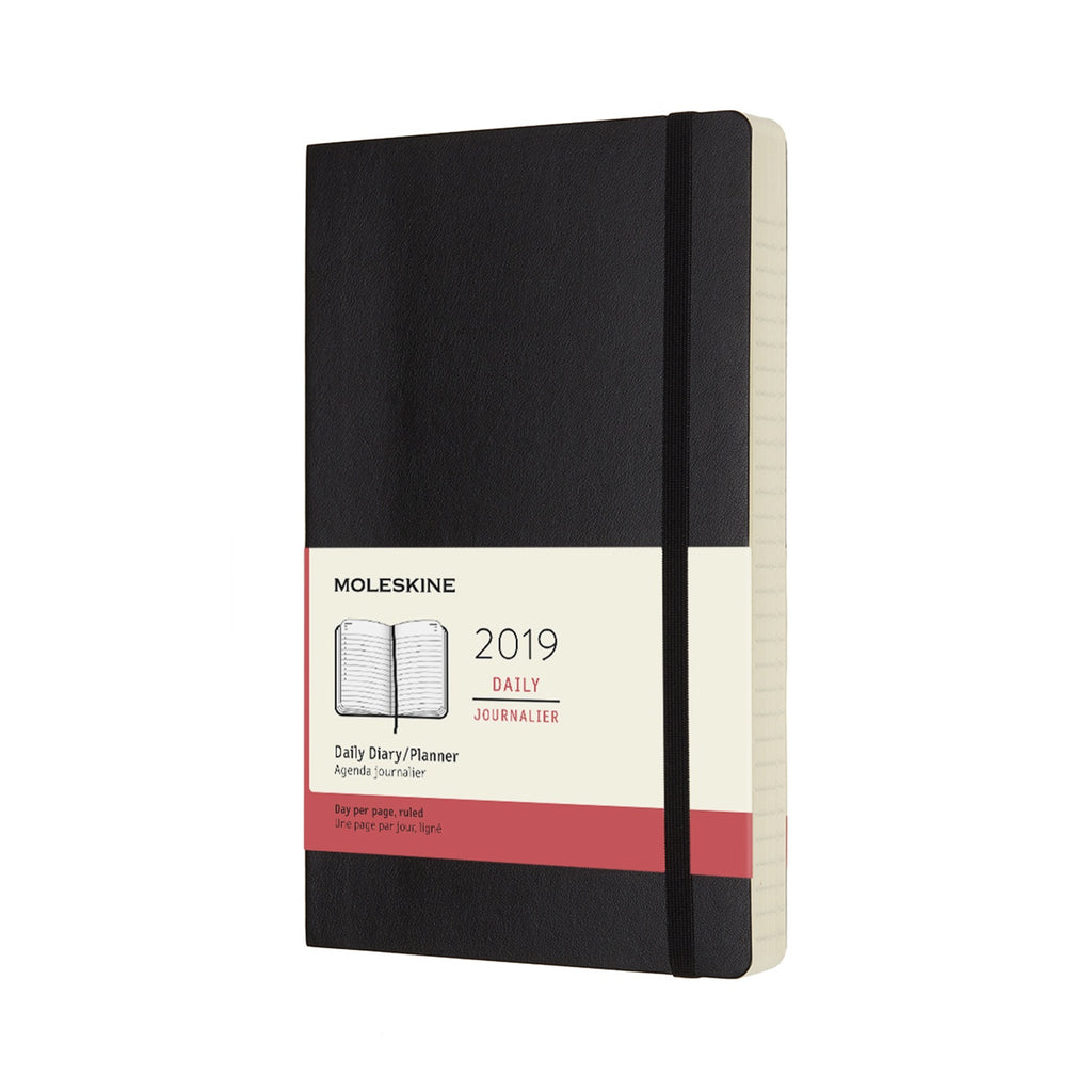2019 Moleskine Large Daily Planner Softcover Black