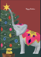 Happy Christmas Elephant and Star Card