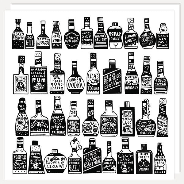 Alcohol Bottles Card
