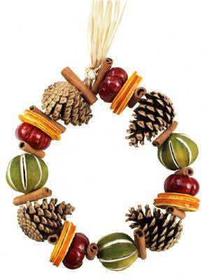 Orange Winter Circle Wreath with Pine Cones