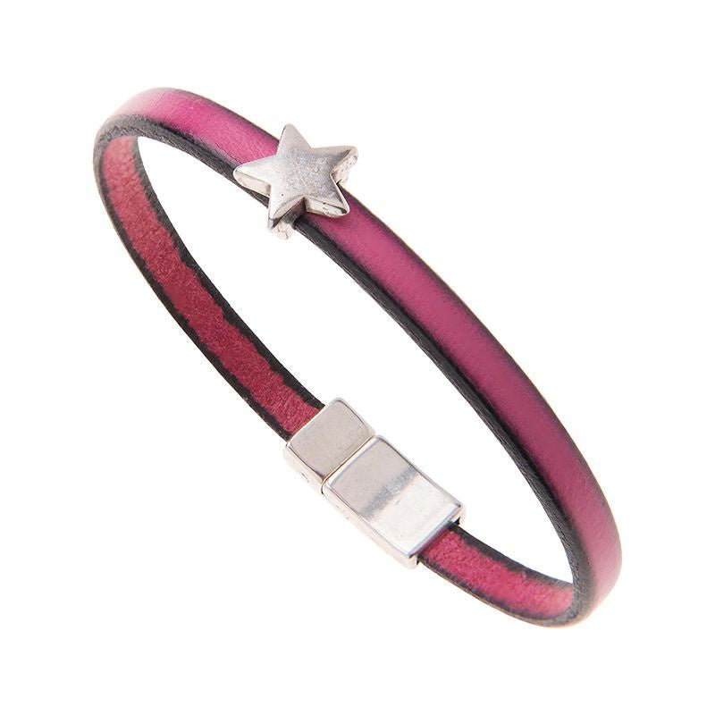 Carrie Elspeth Fuchsia Leather Charm Bracelet with Star