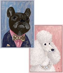 Box of 8 Poodle and French Bulldog Notecards