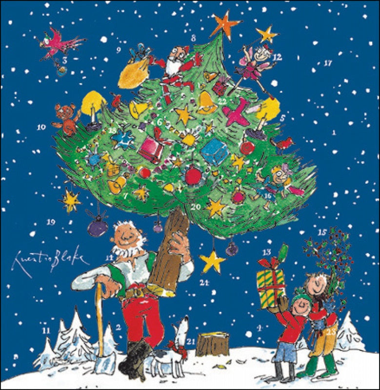 Decorating The Tree by Quentin Blake Advent Card