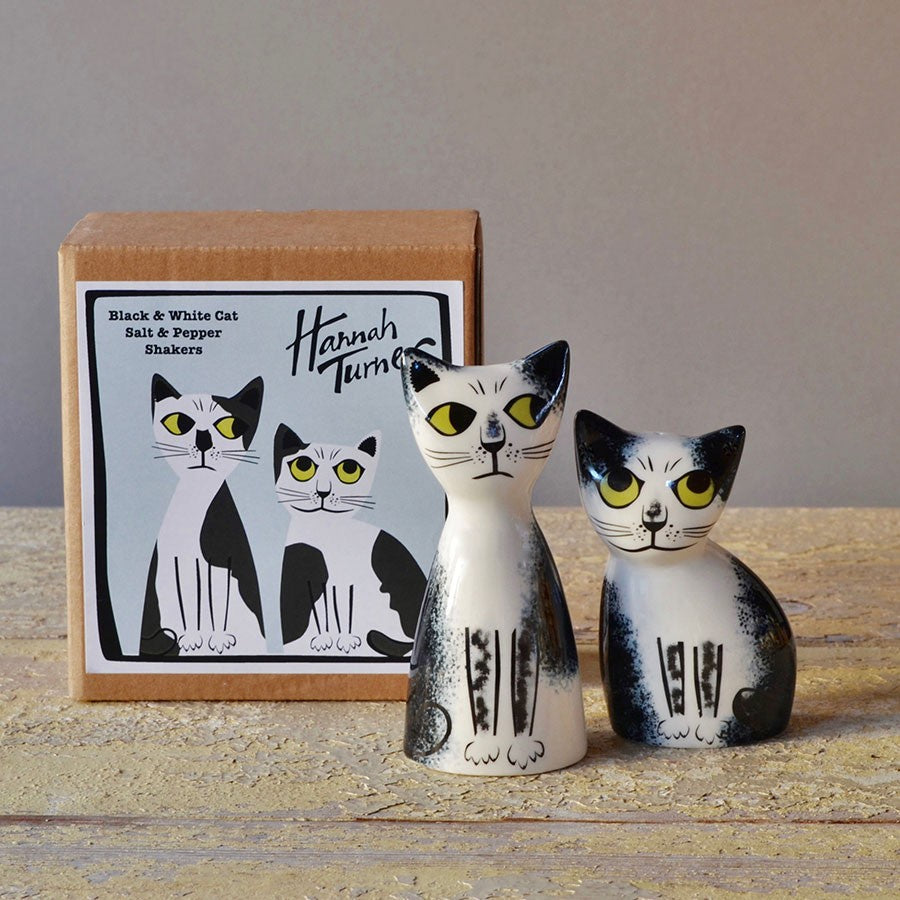 Black and White Cat Salt and Pepper Shakers by Hannah Turner