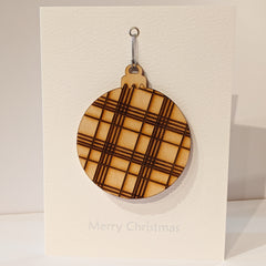 Tartan Bauble Christmas Card
