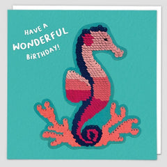 Have A Wonderful Birthday Seahorse Sequin Patch Card