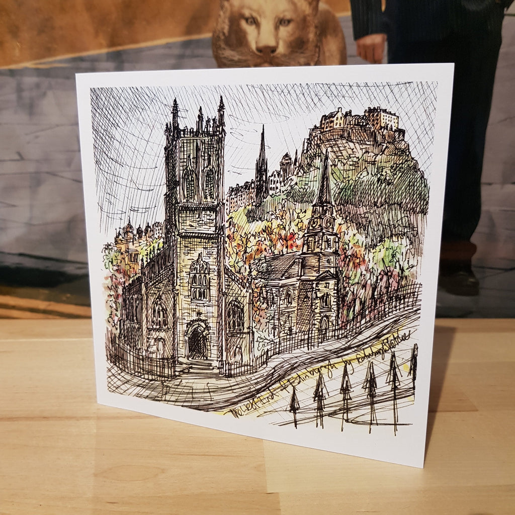 West End St John's Church Corner Lothian Road Sketcher Card