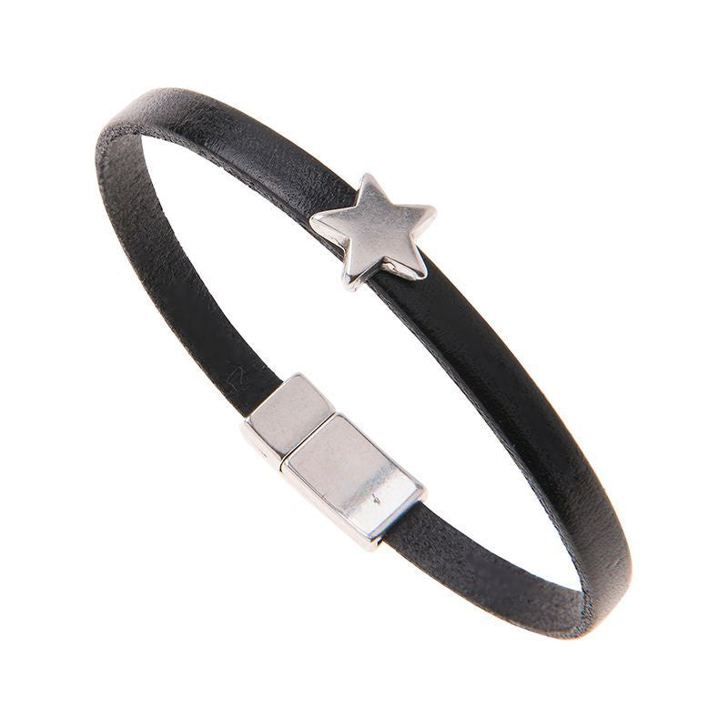 Carrie Elspeth Black Leather Charm Bracelet with Star