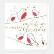 We Wish You a Merry Christmas Robins Singing Pack of 5 Cards